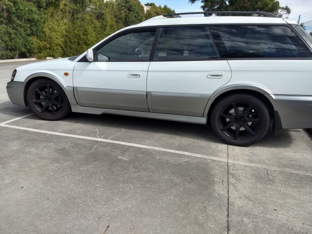 BH9 outback with standard gen4 front struts (gen3 tophats) + standard outback rear struts with KSRL-29 king springs